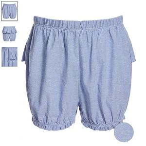 Toddler Girls Chambray Ruffle Cotton Bloomers 18M